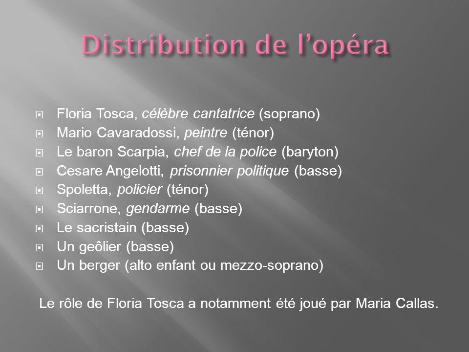 Floria Tosca, célèbre cantatrice (soprano) Mario Cavaradossi, peintre (ténor) Le baron Scarpia, chef de la police (baryton) Cesare Angelotti, prisonnier politique (basse) Spoletta, policier (ténor) Sciarrone, gendarme (basse) Le sacristain (basse) Un geôlier (basse) Un berger (alto enfant ou mezzo-soprano) Le rôle de Floria Tosca a notamment été joué par Maria Callas.