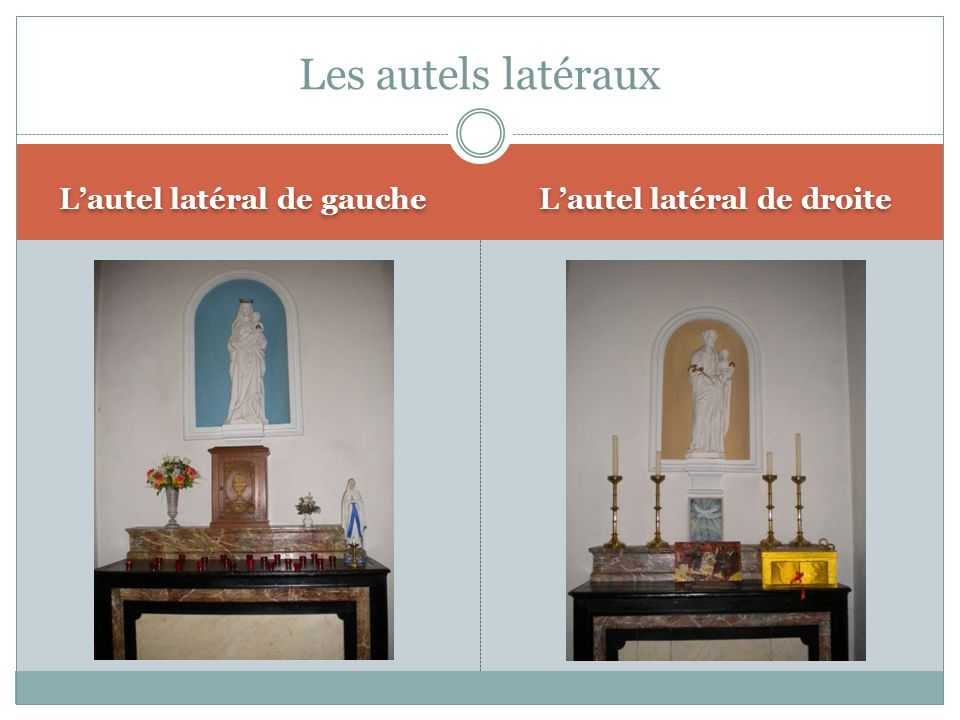 Lautel latéral de gauche Lautel latéral de droite Les autels latéraux