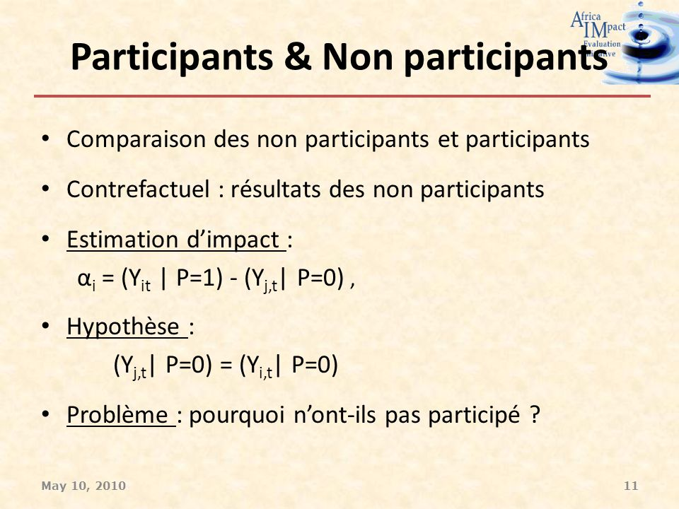 Participants & Non participants Comparaison des non participants et participants Contrefactuel : résultats des non participants Estimation dimpact : α i = (Y it | P=1) - (Y j,t | P=0), Hypothèse : (Y j,t | P=0) = (Y i,t | P=0) Problème : pourquoi nont-ils pas participé .