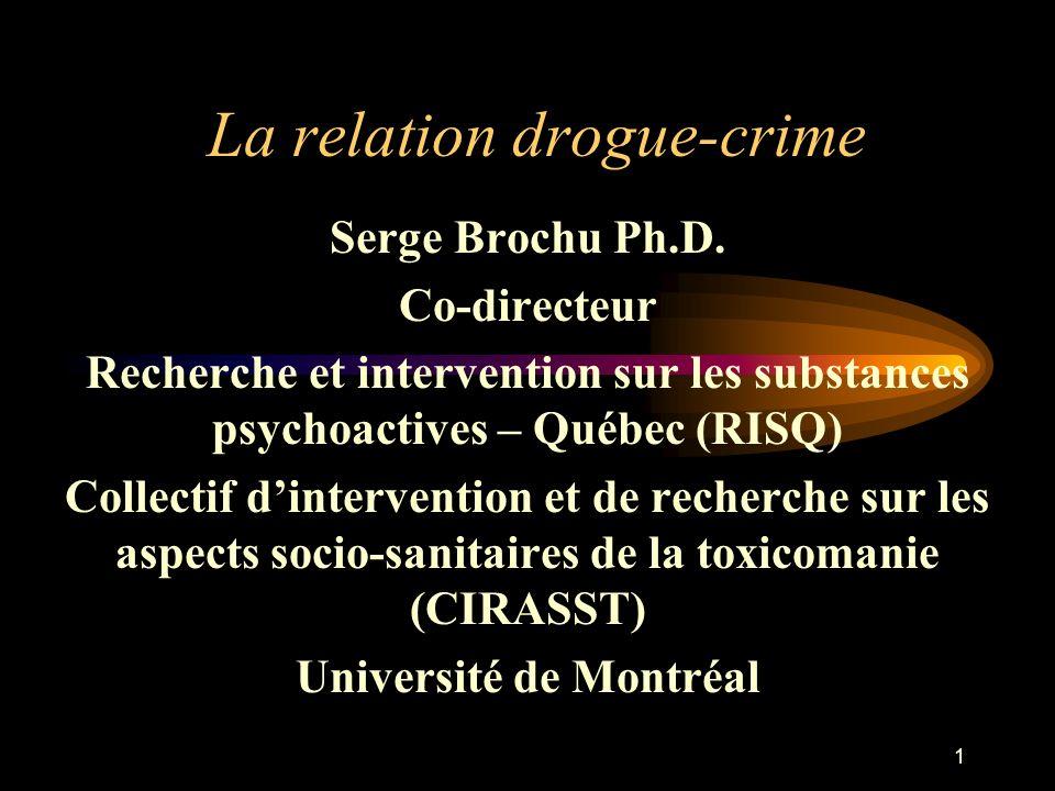 2 Drogue et criminalité: une relation complexe Relation drogue-crime Substance Personne Contexte