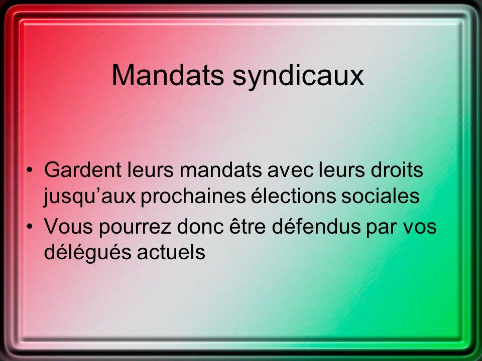 Mandats syndicaux Gardent leurs mandats avec leurs droits jusquaux prochaines élections sociales Vous pourrez donc être défendus par vos délégués actuels
