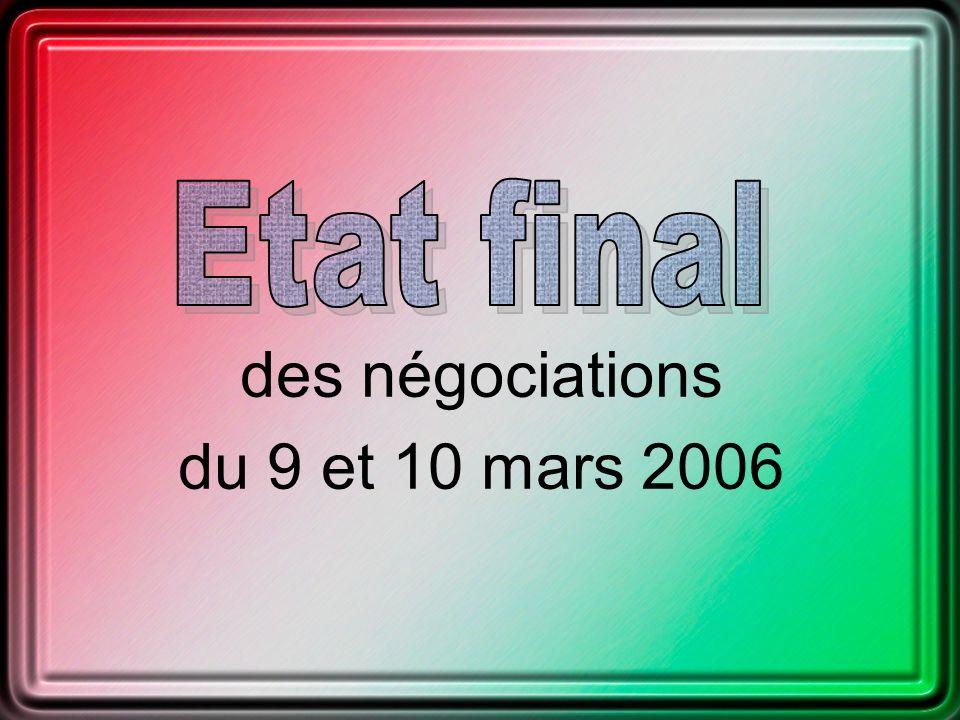 des négociations du 9 et 10 mars 2006