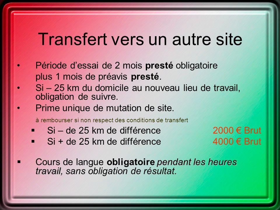 Transfert vers un autre site Période dessai de 2 mois presté obligatoire plus 1 mois de préavis presté.