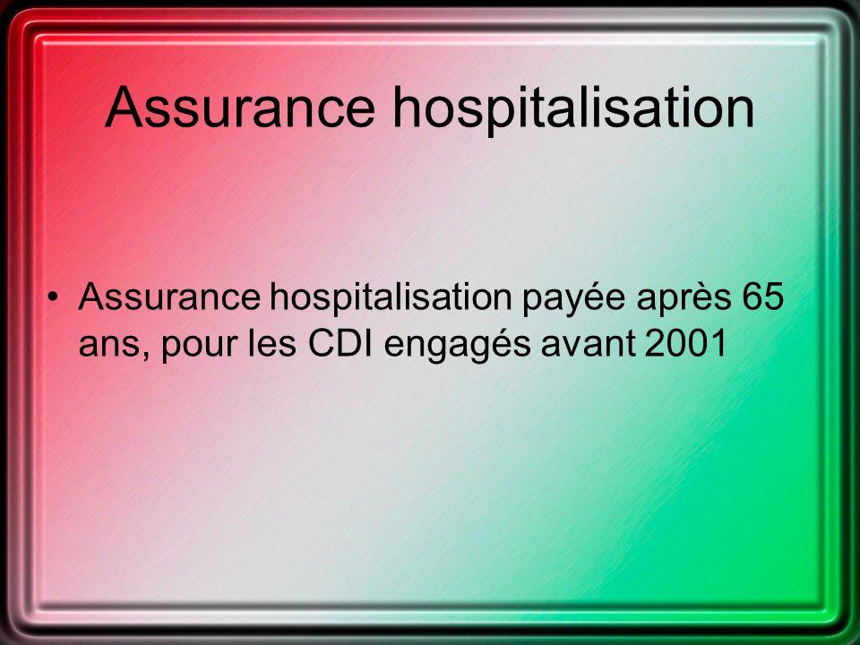 Assurance hospitalisation Assurance hospitalisation payée après 65 ans, pour les CDI engagés avant 2001