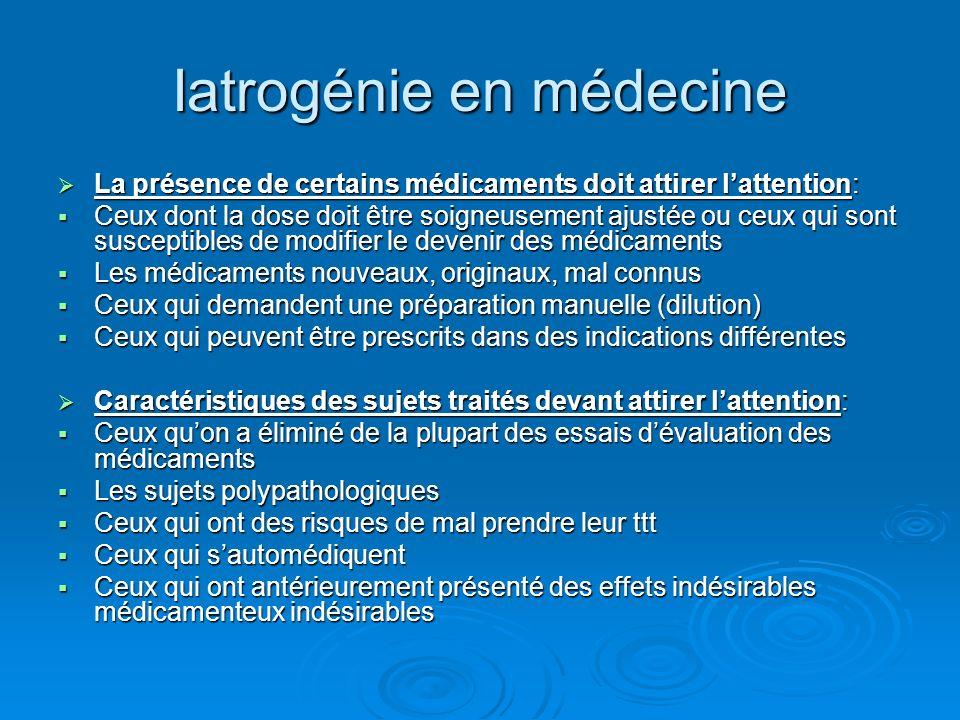 Iatrogénie en médecine Lorsquon évoque le rôle des médicaments, il faut répondre rapidement à la question dinterrompre durgence ou non certains des ttt.
