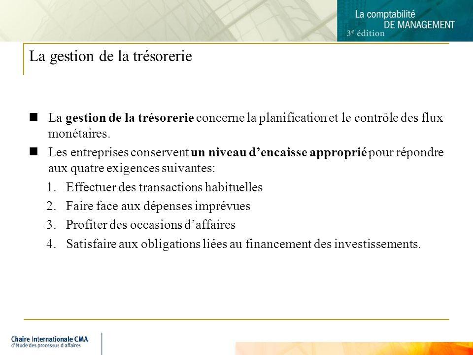 3 La gestion de la trésorerie La gestion de la trésorerie concerne la planification et le contrôle des flux monétaires.