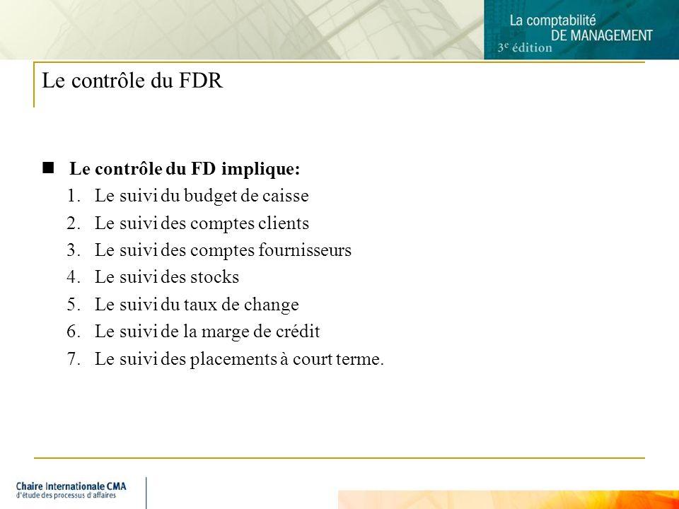 7 Le contrôle du FDR Le contrôle du FD implique: 1.Le suivi du budget de caisse 2.Le suivi des comptes clients 3.Le suivi des comptes fournisseurs 4.L