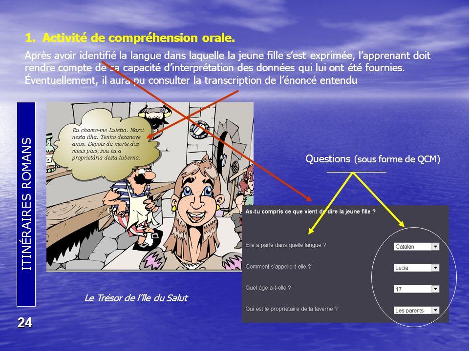 ITINÉRAIRES ROMANS 24 1.Activité de compréhension orale.