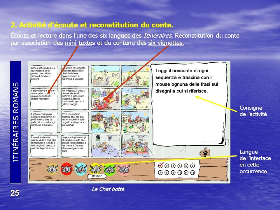 ITINÉRAIRES ROMANS 25 Le Chat botté 2.Activité découte et reconstitution du conte.