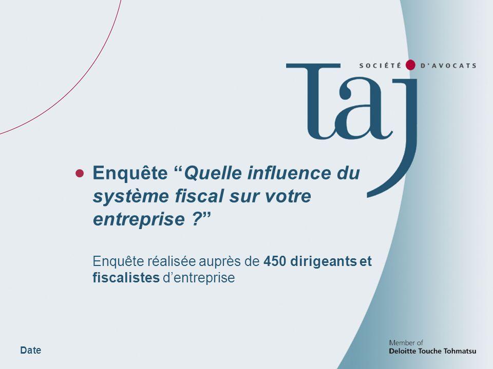 Date Enquête Quelle influence du système fiscal sur votre entreprise .