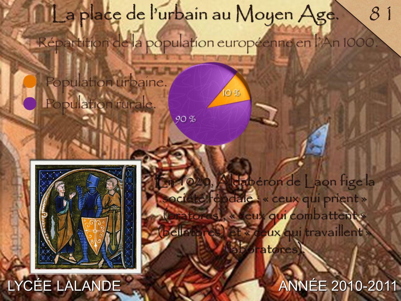 3 LYCÉE LALANDE ANNÉE 2010-2011 81 En 1020, Aldabéron de Laon fige la société féodale : « ceux qui prient » (oratores), « ceux qui combattent » (bella