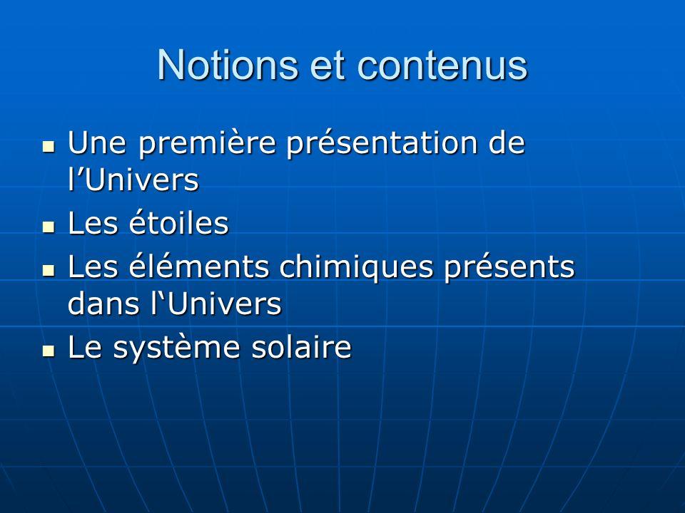 Notions et contenus Une première présentation de lUnivers Une première présentation de lUnivers Les étoiles Les étoiles Les éléments chimiques présents dans lUnivers Les éléments chimiques présents dans lUnivers Le système solaire Le système solaire