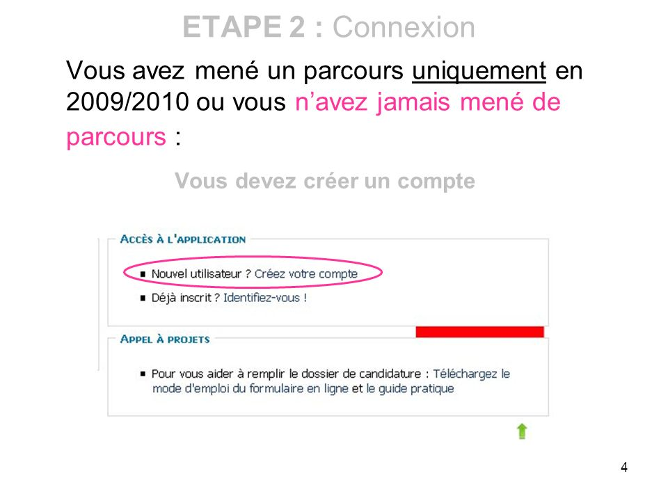 4 Vous avez mené un parcours uniquement en 2009/2010 ou vous navez jamais mené de parcours : Vous devez créer un compte ETAPE 2 : Connexion