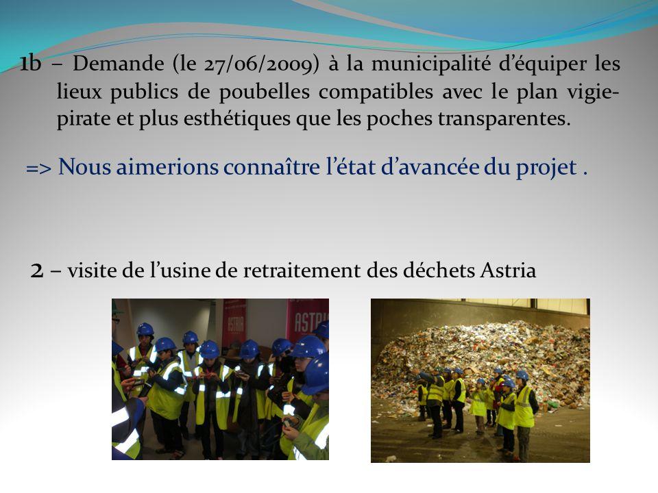 1 b – Demande (le 27/06/2009) à la municipalité déquiper les lieux publics de poubelles compatibles avec le plan vigie- pirate et plus esthétiques que les poches transparentes.