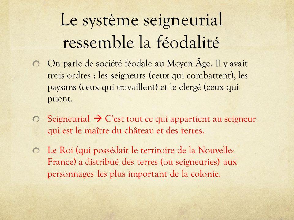 Le système seigneurial ressemble la féodalité On parle de société féodale au Moyen Âge.