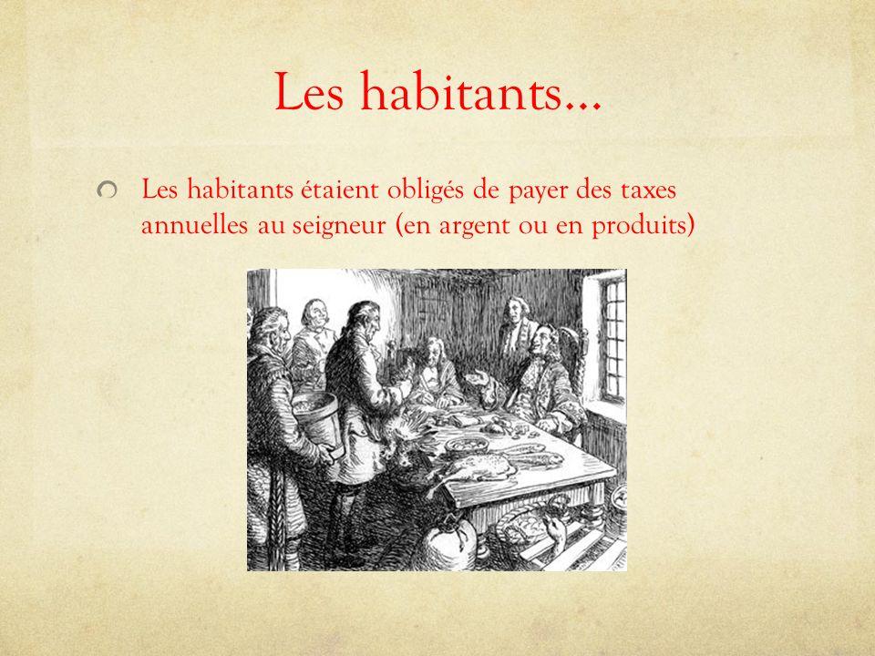 Les habitants… Les habitants étaient obligés de payer des taxes annuelles au seigneur (en argent ou en produits)