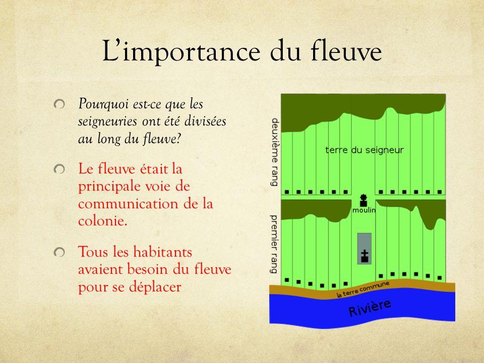 Limportance du fleuve Pourquoi est-ce que les seigneuries ont été divisées au long du fleuve.