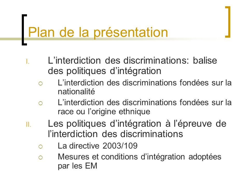 Plan de la présentation I.