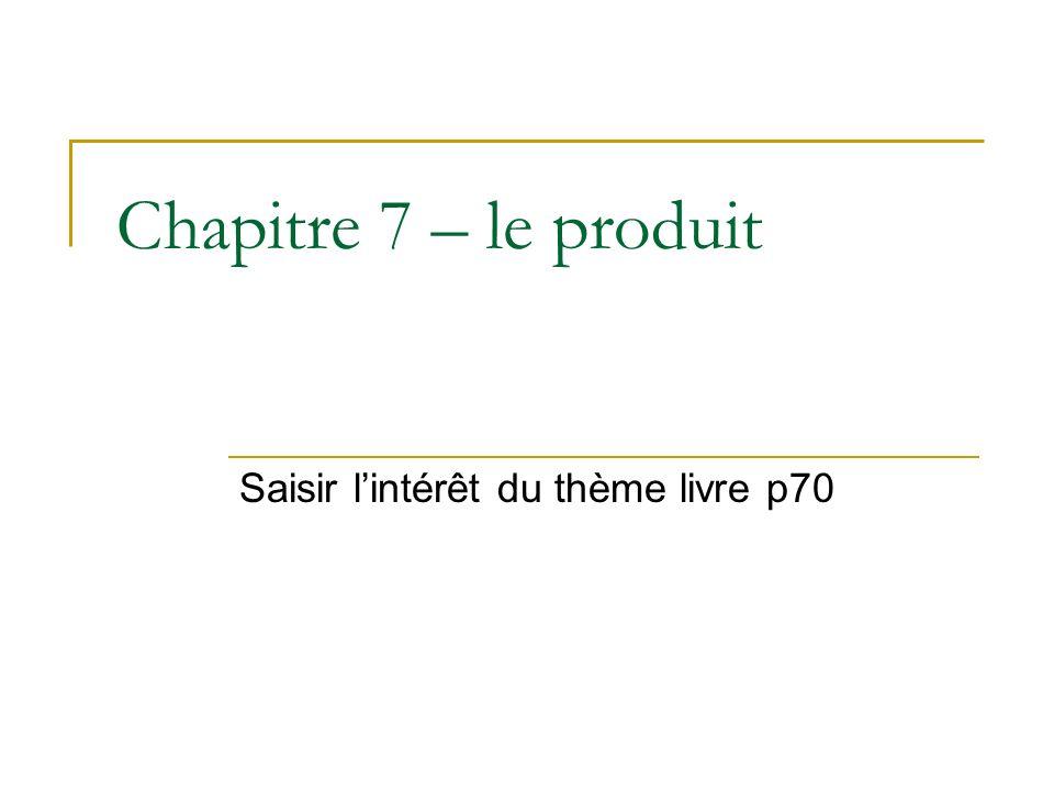 Chapitre 7 – le produit Saisir lintérêt du thème livre p70