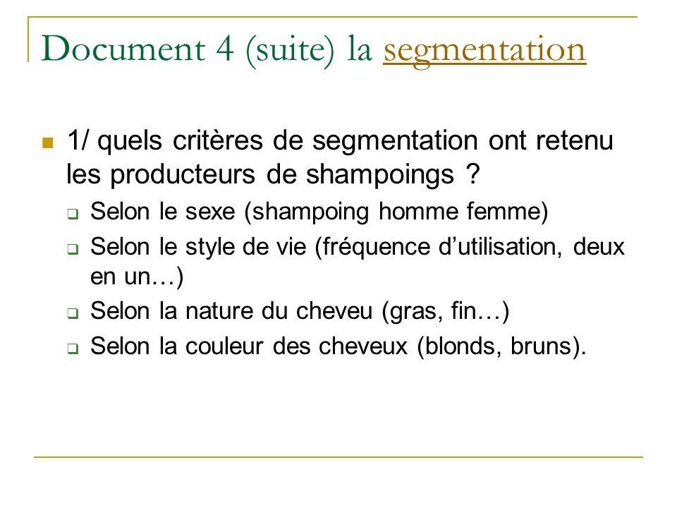 Document 4 (suite) la segmentationsegmentation 1/ quels critères de segmentation ont retenu les producteurs de shampoings ? Selon le sexe (shampoing h