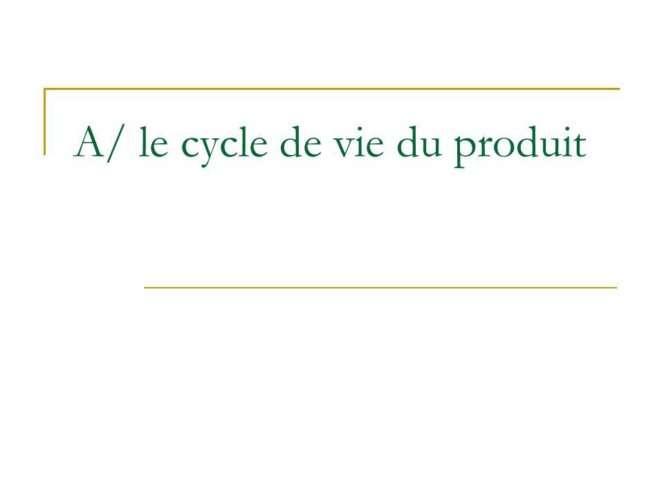 A/ le cycle de vie du produit