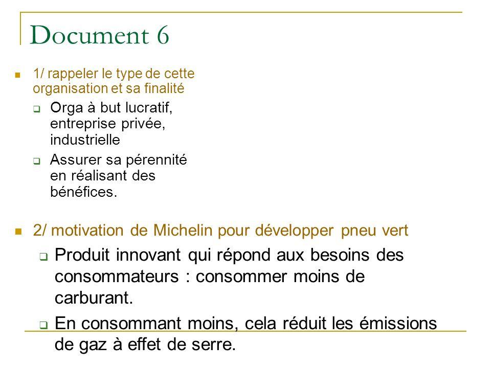Document 6 1/ rappeler le type de cette organisation et sa finalité Orga à but lucratif, entreprise privée, industrielle Assurer sa pérennité en réali