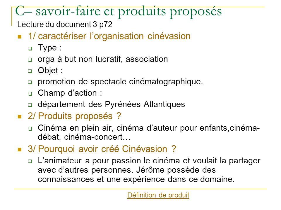 C– savoir-faire et produits proposés Lecture du document 3 p72 1/ caractériser lorganisation cinévasion Type : orga à but non lucratif, association Objet : promotion de spectacle cinématographique.