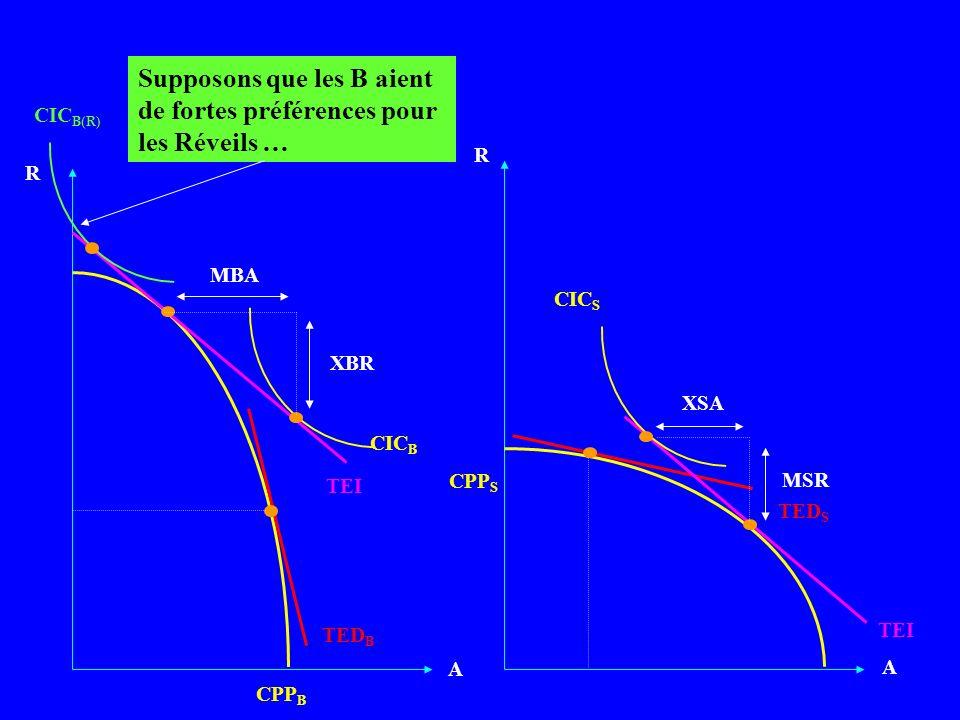 A A CPP B TEI R CPP S R CIC B MBA XBR CIC S XSA MSR TED B TED S Supposons que les B aient de fortes préférences pour les Réveils … CIC B(R)
