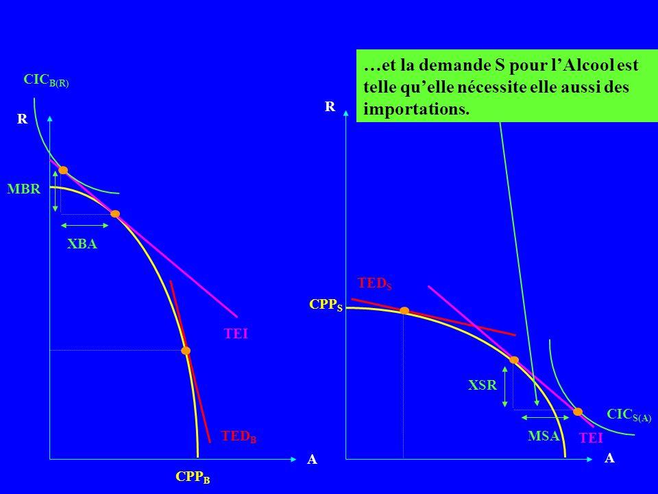 A A CPP B TEI R CPP S R TED B TED S …et la demande S pour lAlcool est telle quelle nécessite elle aussi des importations. CIC B(R) XBA MBR CIC S(A) XS