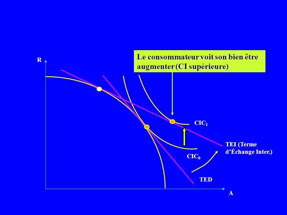 R A CIC 0 TED TEI Le consommateur voit son bien être augmenter (CI supérieure) TEI (Terme dÉchange Inter.) CIC 1
