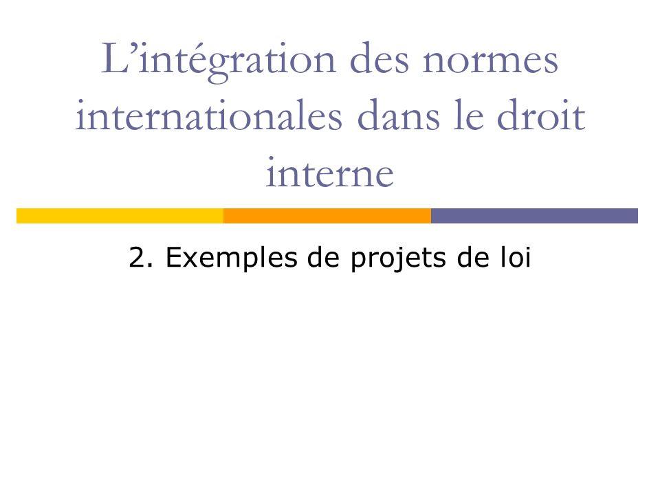 Lintégration des normes internationales dans le droit interne 2. Exemples de projets de loi