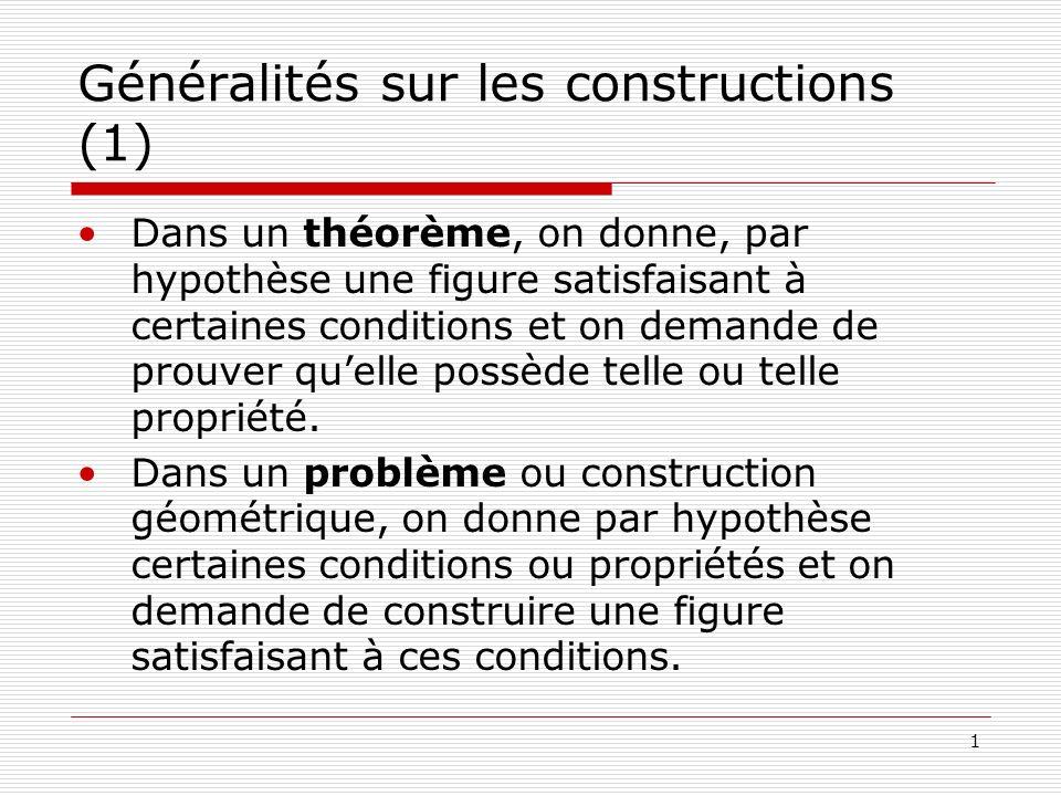 1 Généralités sur les constructions (1) Dans un théorème, on donne, par hypothèse une figure satisfaisant à certaines conditions et on demande de prou