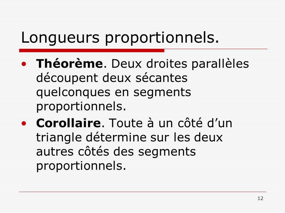 12 Longueurs proportionnels. Théorème. Deux droites parallèles découpent deux sécantes quelconques en segments proportionnels. Corollaire. Toute à un