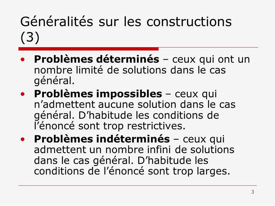 3 Généralités sur les constructions (3) Problèmes déterminés – ceux qui ont un nombre limité de solutions dans le cas général. Problèmes impossibles –