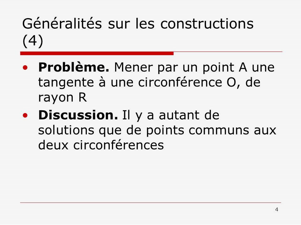 4 Généralités sur les constructions (4) Problème. Mener par un point A une tangente à une circonférence O, de rayon R Discussion. Il y a autant de sol