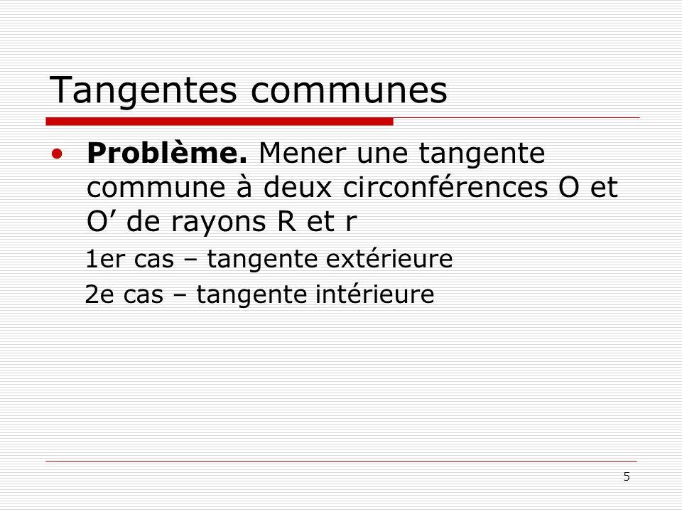 5 Tangentes communes Problème. Mener une tangente commune à deux circonférences O et O de rayons R et r 1er cas – tangente extérieure 2e cas – tangent