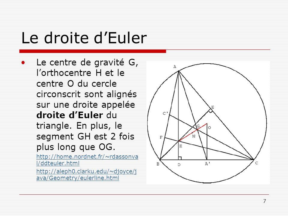 7 Le droite dEuler Le centre de gravité G, lorthocentre H et le centre O du cercle circonscrit sont alignés sur une droite appelée droite dEuler du tr