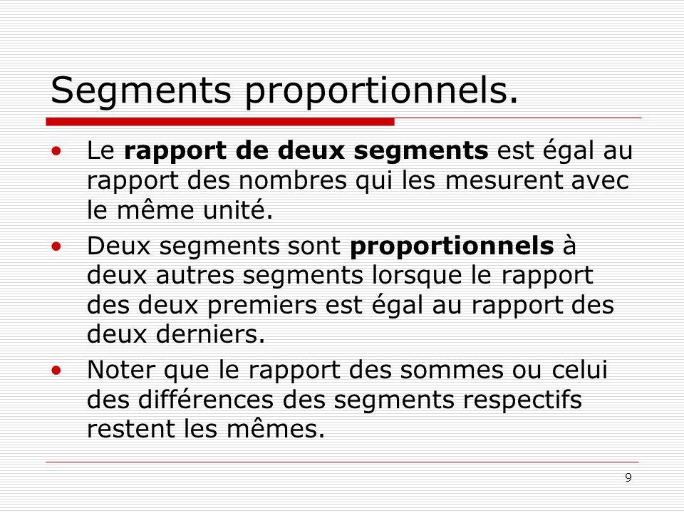 9 Segments proportionnels. Le rapport de deux segments est égal au rapport des nombres qui les mesurent avec le même unité. Deux segments sont proport