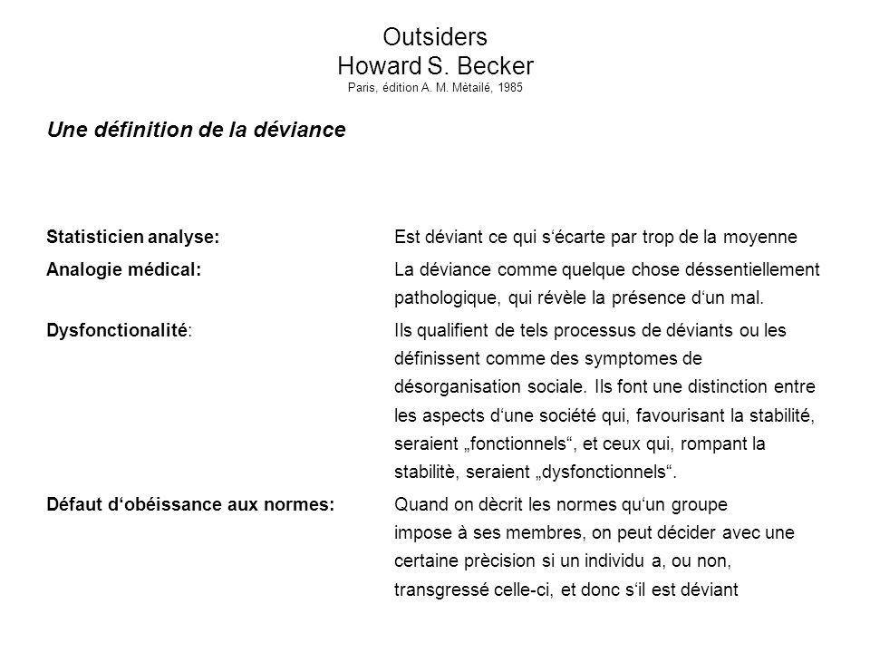 Outsiders Howard S. Becker Paris, édition A. M. Mètailé, 1985 Une définition de la déviance Statisticien analyse:Est déviant ce qui sécarte par trop d