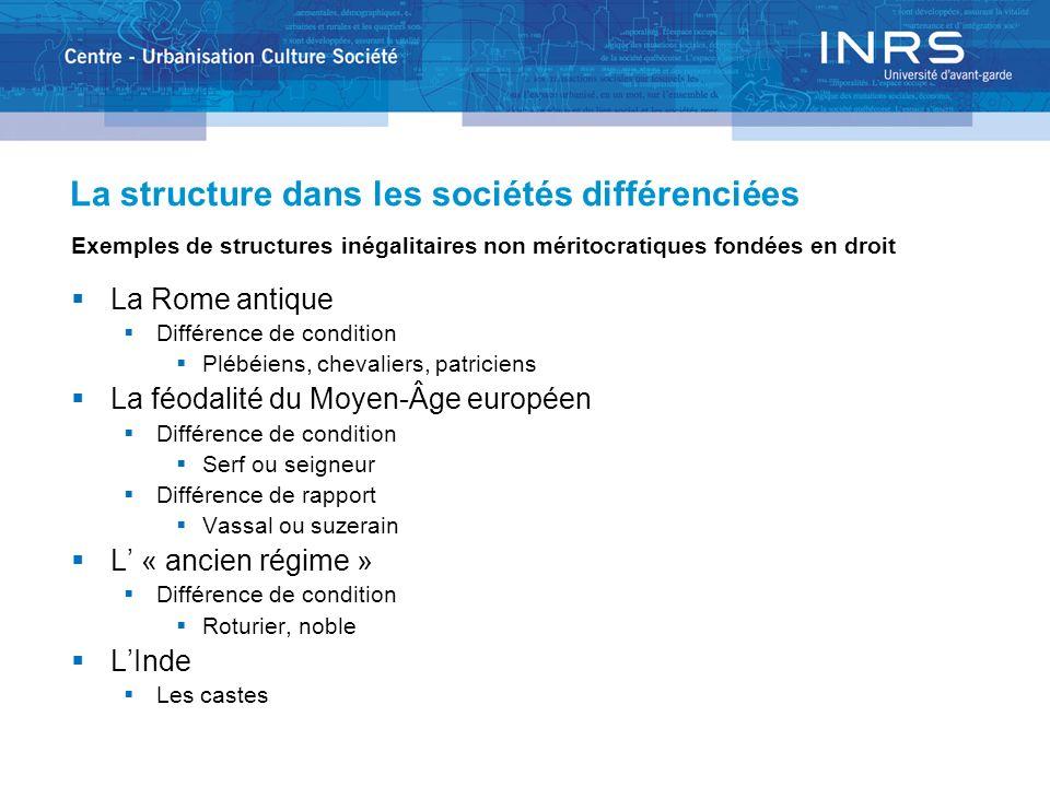 La structure dans les sociétés différenciées Exemples de structures inégalitaires non méritocratiques fondées en droit La Rome antique Différence de c