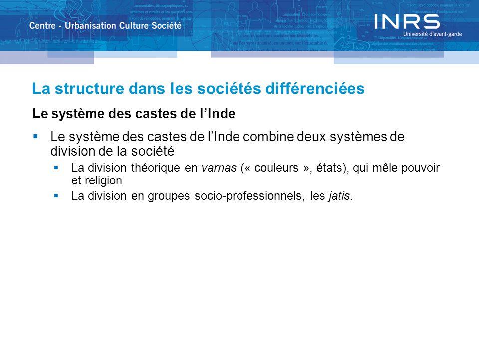 La structure dans les sociétés différenciées Le système des castes de lInde Le système des castes de lInde combine deux systèmes de division de la soc