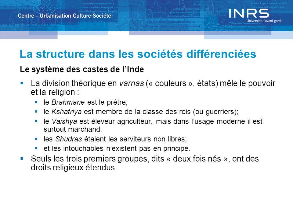 La structure dans les sociétés différenciées Le système des castes de lInde La division théorique en varnas (« couleurs », états) mêle le pouvoir et l
