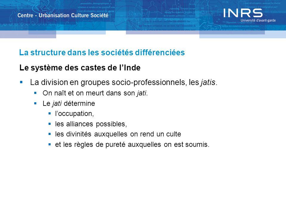 La structure dans les sociétés différenciées Le système des castes de lInde La division en groupes socio-professionnels, les jatis. On naît et on meur