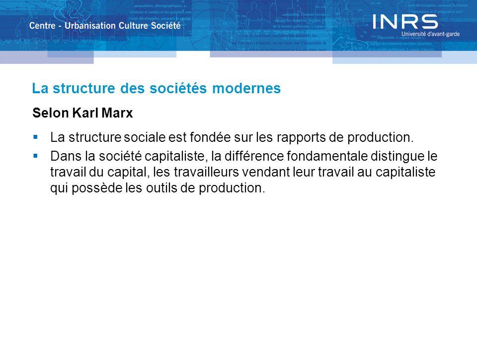 Selon Karl Marx La structure sociale est fondée sur les rapports de production. Dans la société capitaliste, la différence fondamentale distingue le t