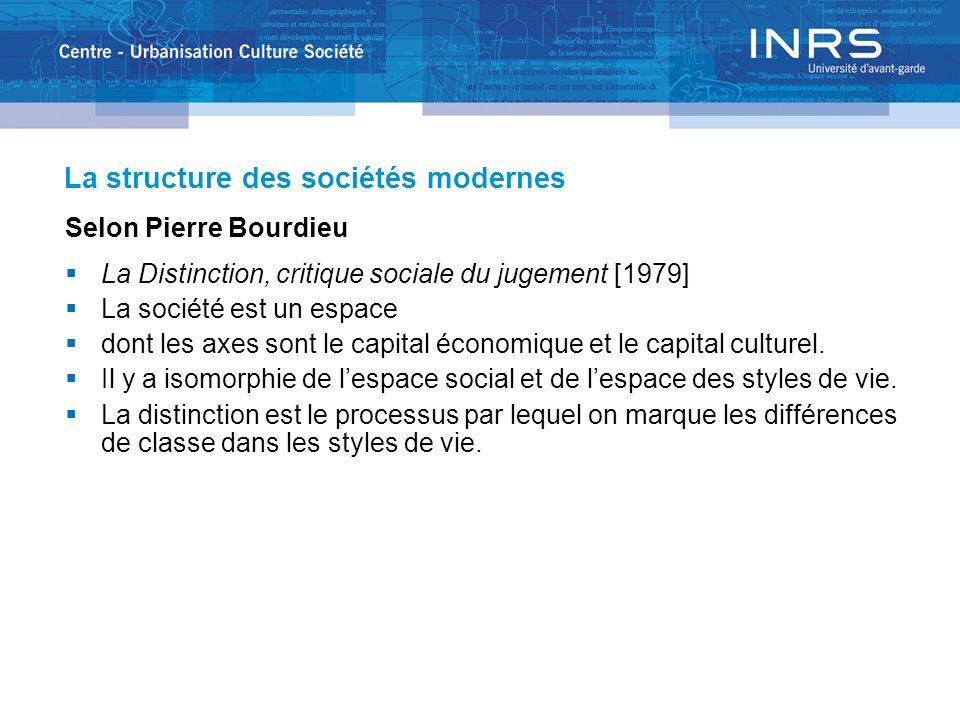 La structure des sociétés modernes Selon Pierre Bourdieu La Distinction, critique sociale du jugement [1979] La société est un espace dont les axes so