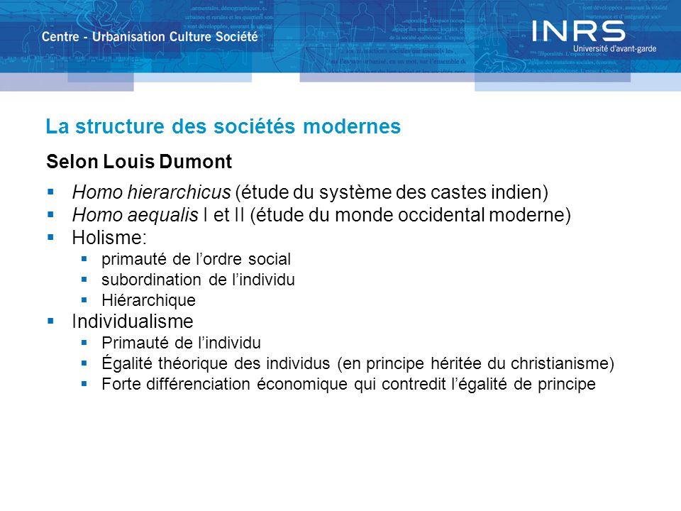 La structure des sociétés modernes Selon Louis Dumont Homo hierarchicus (étude du système des castes indien) Homo aequalis I et II (étude du monde occ
