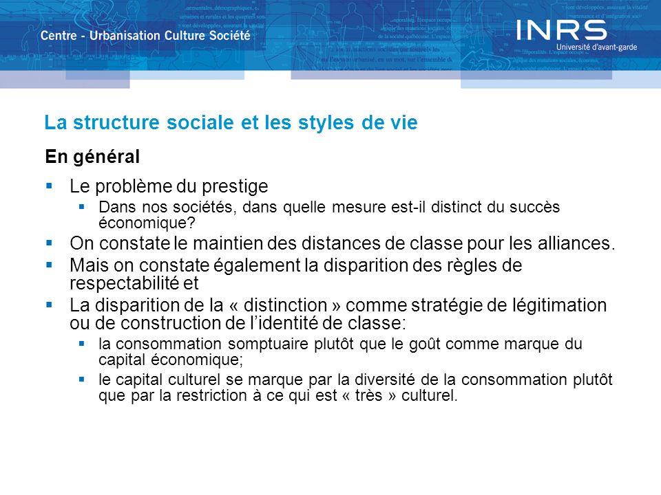 La structure sociale et les styles de vie En général Le problème du prestige Dans nos sociétés, dans quelle mesure est-il distinct du succès économiqu