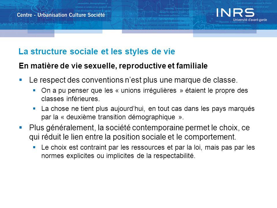 La structure sociale et les styles de vie En matière de vie sexuelle, reproductive et familiale Le respect des conventions nest plus une marque de cla