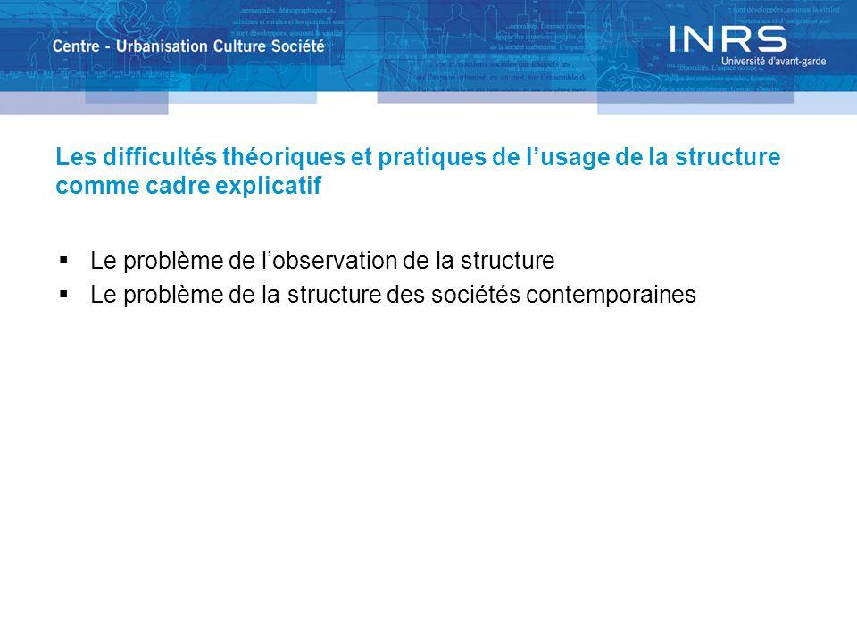 Les difficultés théoriques et pratiques de lusage de la structure comme cadre explicatif Le problème de lobservation de la structure Le problème de la