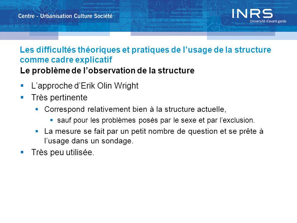 Les difficultés théoriques et pratiques de lusage de la structure comme cadre explicatif Le problème de lobservation de la structure Lapproche dErik O